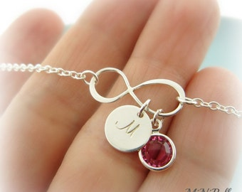 Infinity Bracelet. Birthstone Infinity Bracelet. Initial Infinity Bracelet. Friendship. Love. Mom. Bridesmaids Bracelet