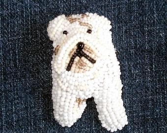 ENGLISH BULLDOG beaded dog keepsake pin pendant/ Ready to ship