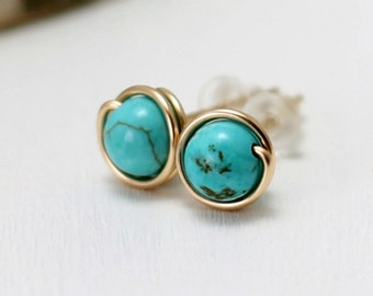 Gold Turquoise Earrings, 14k Gold Filled Turquoise Post Earrings Wire Wrapped Genuine Turquoise Stud Earrings Gift for Her