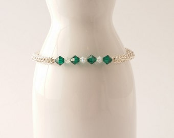 Green Swarovski crystal chainmaille bracelet in a full persian weave.