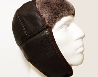 Aviator Hat, Pilot Leather Cap, Brown Leather Hat, Leather Pelt, Gift for Man, Winter Hat, Travel Gift, Ear Flap Hat