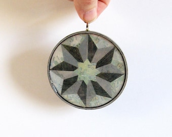Compass Rose - Map Paper Collage on Round Wood Ornament - Metallic Silver Wall Decor - World Travel Art - Contemporary Art Modern Home Decor