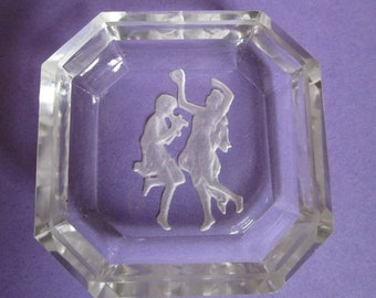 ANTIQUE Pair of CZECH INTAGLIO Glass Salt Dips Salters Pan Pied Piper & Dancing Gypsy!