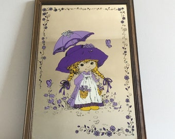 """Vintage Holly Hobbie style Mirror 9"""" x 13"""" lovely condition."""