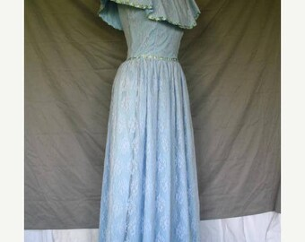 On Sale 1960's Light Blue Victorian Style Southern Belle Dress