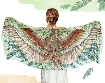 Silk Scarf, Wings Scarf, Bohemian Clothing, Gift For Her, Printed Shawl, Women Shawl, Wedding Shawl, Digital Print Sarong, Women Scarf
