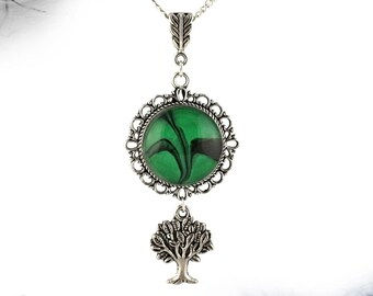 Tree Of Life necklace Nature necklace Tree necklace Forest witch necklace Green necklace Green pendant Elf jewelry Nature lover jewelrygift