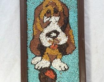 1960s Gravel Art, Vintage Gravel Art Basset Hound Dog , Sad Dog Pebble Stone Art, Kitschy Retro Mixed Media Art, Aquarium Gravel Art