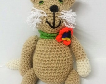 Amigurumi/Cat/Stuffed Animal/Stuffed Kitty/Plush Animal/Plush Toy/Soft Cat/Kitty Cat/Toy for Toddlers and Babies/Brown Cat/Crocheted Toy/Toy