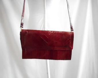 Vintage 1970s 1980s Red Snakeskin Leather Purse, Vintage Red Leather Shoulder Bag, 1970s Snakeskin Crossbody, 1980s Snakeskin Crossbody