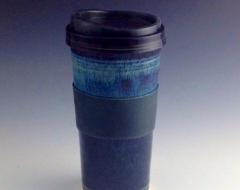 IN_STOCK Ships Same or Next Day Coffee Travel Mug / Travel Tumbler  with silicone lid - Blue