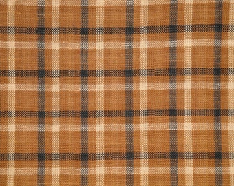 Homespun Material | Plaid Material | Cotton Sewing Material | Rag Quilt Material | Brown Black Natural Plaid Material | Primitive Material