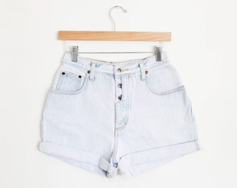 Vintage 90s Zena Light Blue Wash Exposed Button High Waisted Rise Cut Offs Cuffed Rolled Jean Denim Shorts – Size 27/28