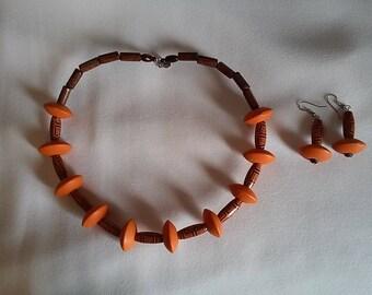 Orange choker wood beads