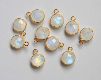 10Pcs 8x8mm Natural Rainbow Moonstone Round 92.5 Sterling Silver Gold Pleating Briolette Cut Single Bail and Loop Bezel Set Link Connector