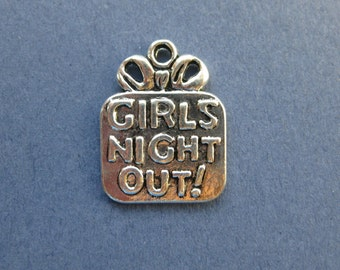 10 Girls Night Out Charms - Girls Night Out Pendants - Girls Night Out - Antique Silver - 22mm x 17mm -- (M6-10219)