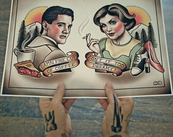 Dale Cooper and Audrey Horne (Twin Peeks) Tattoo Flash Art