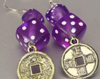 Creative Handmade Purple Mini and Regular Sized Dice Bead and Gold Indonesian Coin Charm Dangle Earrings
