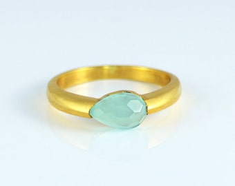 Aqua Chalcedony Ring, Gemstone Ring, Stacking Ring, Gold Ring, Tear drop Ring, March Birthstone ring, Sea foam chalcedony ring