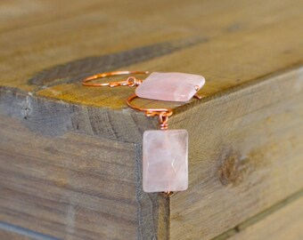Handmade Rose Quartz Earrings with Hand Forged Copper Ear Wires.