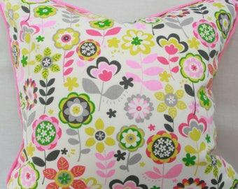Pink floral decorative throw pillow cover with pink trim. 20 x 20. toss pillow. girls pillow. teen pillow. child's pillow.pink girls pillow.