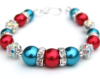 Turquoise and Red Pearl Bracelet, Bridesmaid Jewelry, Bridal Party, Gift for Her Under 30, Summer Wedding