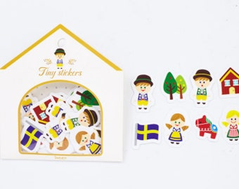 48pcs Kawaii Sweden Swedish sticker Pack