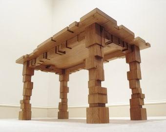 Coffee Table - Solid Oak - Oak Furniture - Oak Table - Cubes - Geometric - Living Room - Home Decor - Furniture -
