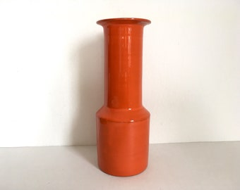 70s orange vase, vintage retro vase, studio pottery vase, West german pottery vase, cylindrical vase, mid century pottery, WGP