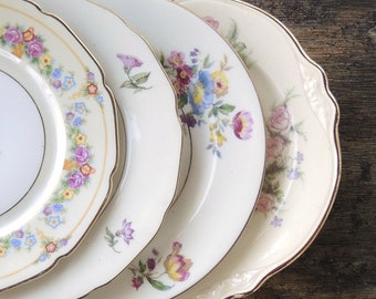 Mismatched Vintage Bread and Butter Plates Set of 4 Dessert Plates Bridesmaid Luncheon Tea Party Plates