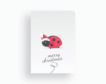 Christmas Card - Magical Christmas by Celebratink • Ladybug Santa • Greeting Cards • Xmas Cards • Blue, White & Green