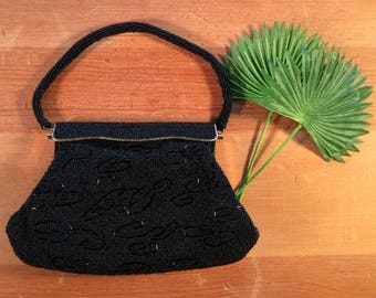 Vintage Black Beaded Evening Purse with Gold Trim, Vintage Purse, Vintage Handbag, Vintage Cloth Bag  MRL