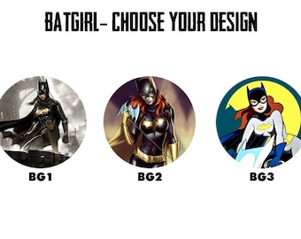 "BATGIRL 2.25"" Button Style Pins, Mirrors, Magnets, Bottle Openers & Keychains"