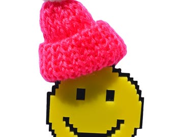 package smiley badge + beanie badge - print acrylique  laser cut pin back badge - pop art style