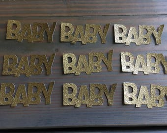 50 gold glitter baby confetti, baby shower, table decor, table scatter, baby girl, baby boy