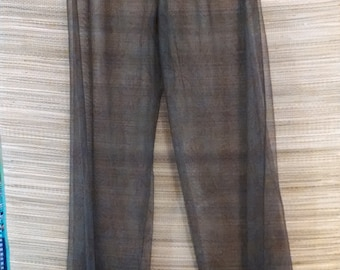 Beach Cover-up Pants- Sheer Brown and Green