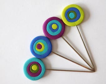 Decorative T Pins, quilting pins, blocking pins, polymer clay pin toppers