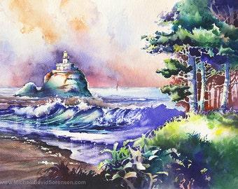 Tillamook Head Light Oregon Coast Watercolor Painting Print. Lighthouse Watercolor Art. Cannon Beach. Pacific Northwest. Watercolor Trees.