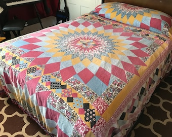 Vintage 1970's Era Full Size Quilted Look Bedspread with Fringed Ends