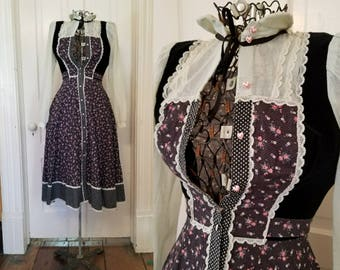 Vintage 70s Black Floral and lace Gunne Sax Dress Small xs