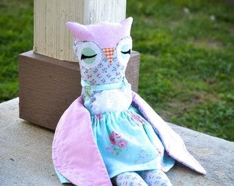 Stuffed Owl - Stuffed Animal - Owl Plushie - Baby Shower Gift - Woodland Toy - Woodland Nursery - Fabric Dolls - Birthday Gift For Girls
