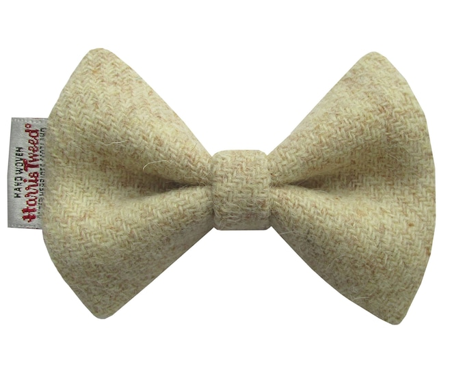 Harris Tweed Oatmeal Designer Dog Bow Tie