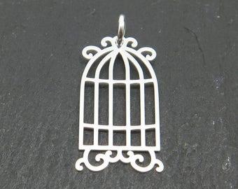Sterling Silver Birdcage Pendant 20mm