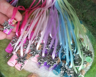 Fairy Party Favors, 25 Rainbow Fairy Glitter Sparkle Party Favors  Pixie Rainbow Necklaces Happy Birthday Flower Fairy Charm Necklace