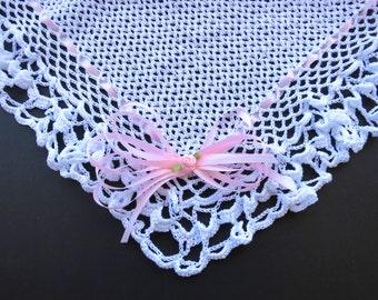 White Hand Knit Crochet Baby Blanket of Light Thread