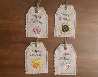 Happy Birthday personalised fabric gift tags applique using free motion embroidery/ FREE postage in the UK,GBP 3.25