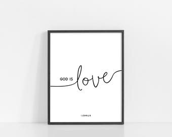 "God Is Love Svg - 1 John 4:8 - Bible Verse Wall Art - Black and White Print - 8x10"" Digital Print - Printable Art - INSTANT DOWNLOAD"