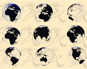Vector EARTH and the WORLD MAP,svg,dxf,eps,ai,png,jpg, Silhouette,Digital image, graphical