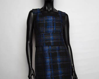 Dress short retro/printed Plaid/black and blue/casual chic/creation handcrafted and original woman / 40/42 T T