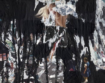 Hiding Place - original mixed media collage